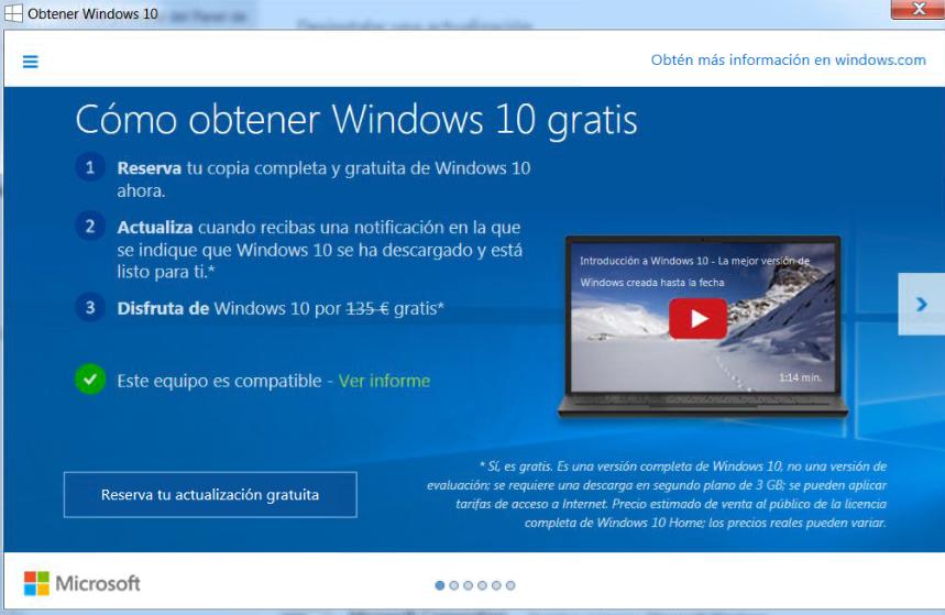 cuadro actualización windows 10 quitar