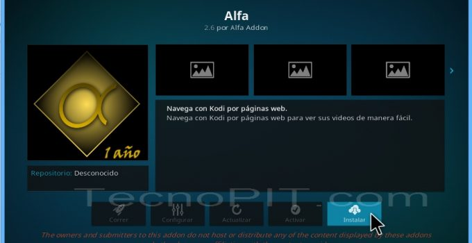 Instalar addon alfa kodi 15